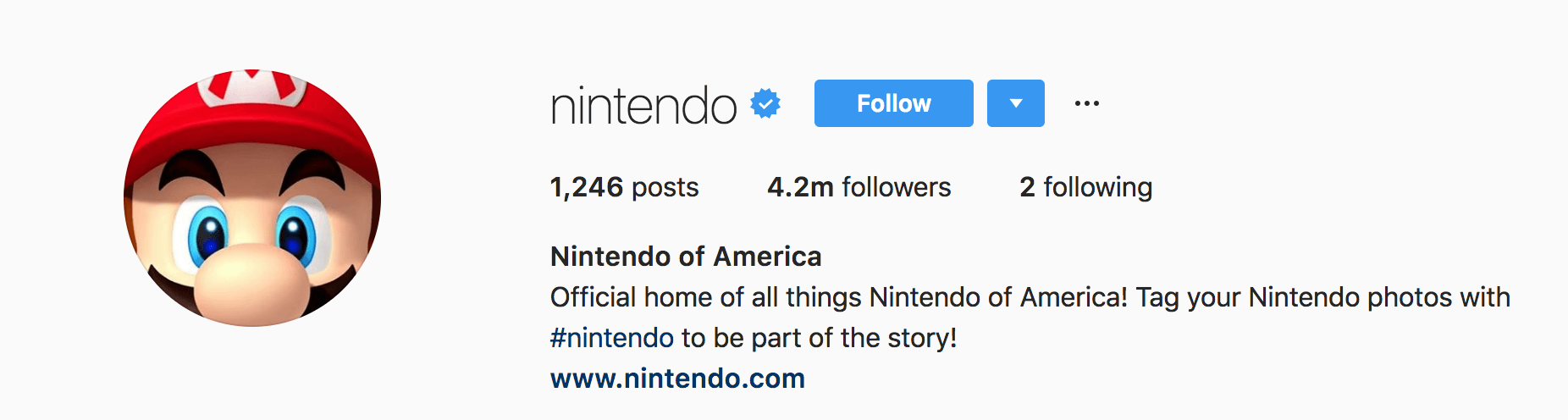 The user bio from Nintendo of America's Instagram profile.