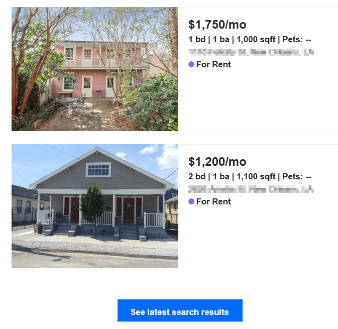 An email from Zillow displaying two houses as well as a button to access the search that found them.